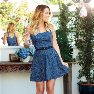 NWT LC BLUE & WHITE POLKA DOT DRESS